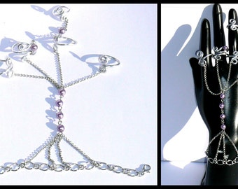 Bracelet-multi rings purple pearls