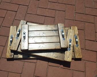 Wooden Nested Serving Trays Set of 3 in Dark Walnut