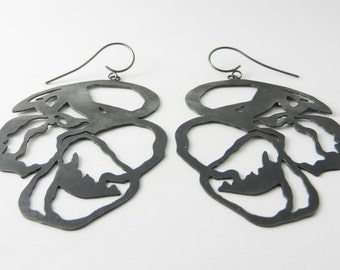 Earrings made of 925 / - sterling silver blacked