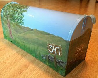 Personalized Mailbox - Hand Painted Summer Country Landscape