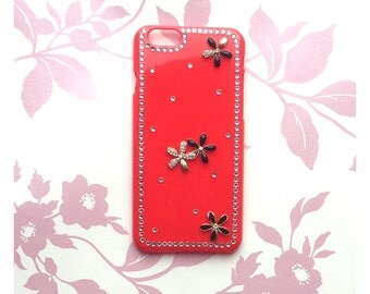 Red Hardback iPhone 6/6S Case With 3D Rhinestone Flower Design