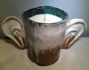 Soy Wax Candle in Ceramic Sculptural Ears Cup