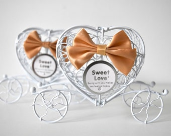 Pumpkin Carriage Favour Box With Gold Ribbon - White