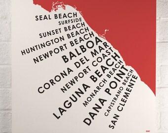 Orange County Beach Towns print