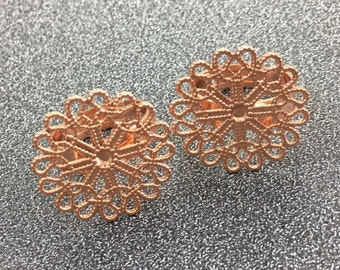 10pcs Rose Gold Plated Filigree Ring Blanks, Adjustable Ring, Blank Ring Setting 23mm Pad