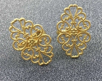 10pcs Gold Plated Oval Filigree Ring, Adjustable Ring, Filigree Ring Blank Ring Setting 20*30mm Pad