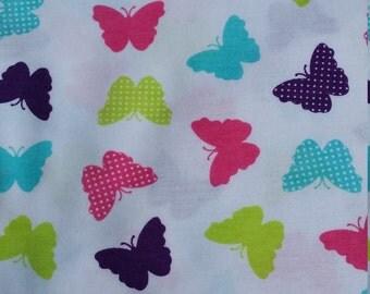 Fabric jersey multicolored butterflies