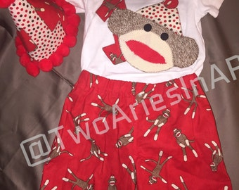 Sock Monkey first Birthday Outfit