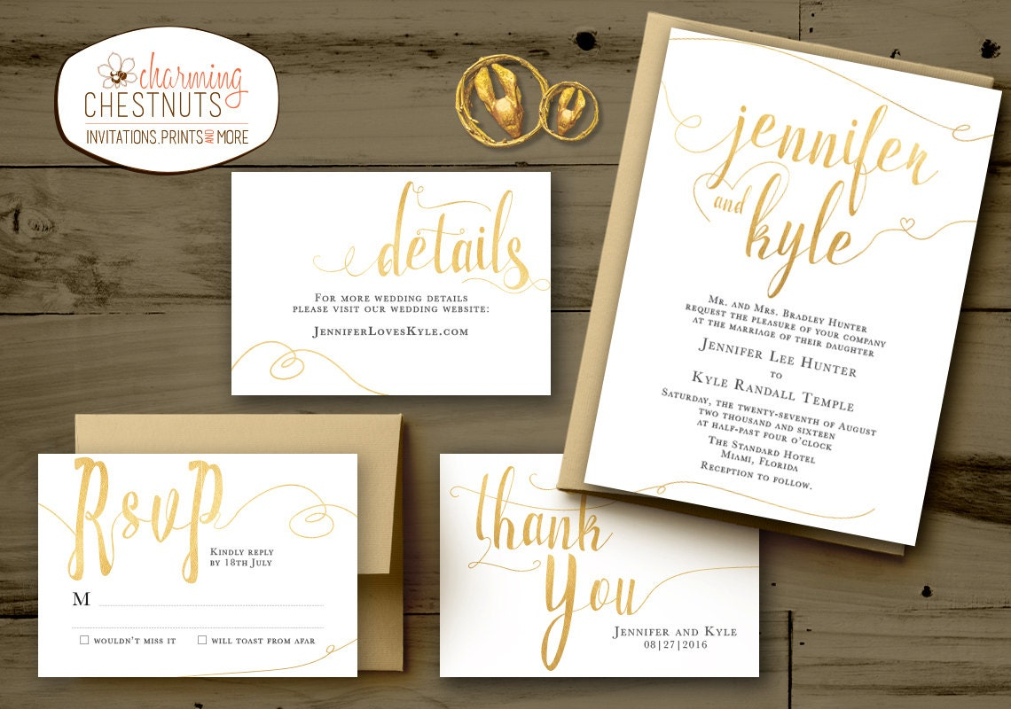 Black White Gold Wedding Invitations: WHITE And GOLD Wedding Invitations Set Classic Gold