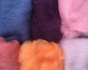 75% OFF! Wool Roving Carded Merino 6 Colors - Felting Spinning Felting Needle Felting Dry Felting Wet Felting Wool Painting 6L1
