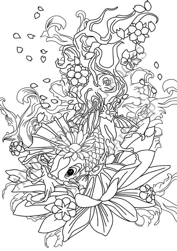 koi coloring pages | KOI FISHES Adult Coloring Book Printable Adult Coloring Book