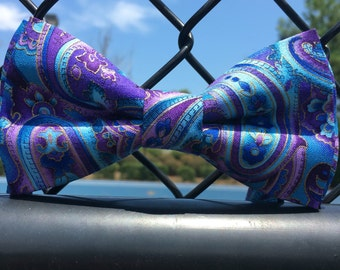 Purple paisley bow tie, blue paisley bow tie, ringbearer bow tie