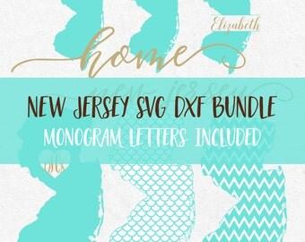 New Jersey Svg Dxf Bundle Svg Fonts Svg Monogram Frames Svg files for silhouette svg files for cricut svg files svg monograms svg meramid