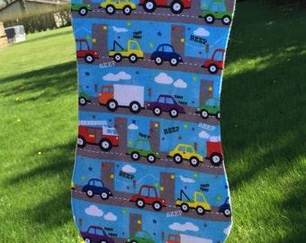Cars and Trucks Baby Burpie