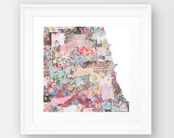 CHICAGO MAP, ILLINOIS, flowers composition, Giclee Fine Art, Poster Print