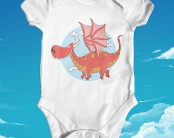 Cartoon Medieval Dragon baby bodysuit | baby shower gift | funny baby bodysuit | cute baby clothes | newborn baby clothes | animal baby