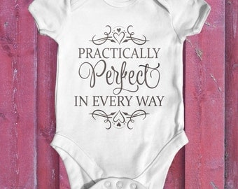 Practically Perfect In Every Way Baby Bodysuit   Baby Shower Gift   Baby Girl Bodysuit   Cute Baby Clothes   Disney Mary Poppins Bodysuit