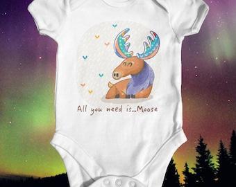 All You Need Is Moose | Animal Baby Bodysuit | Funny Baby Bodysuit | Cute Baby Clothes | Wild Baby Bodysuit | Baby Shower Gift | Unisex Baby