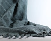Gray Beach Towel | Stonewashed | Peshtemal | Turkish Beach Towel | Sarong | Turkish Towel | Beach Towel | Silver Tinsel | Trendy