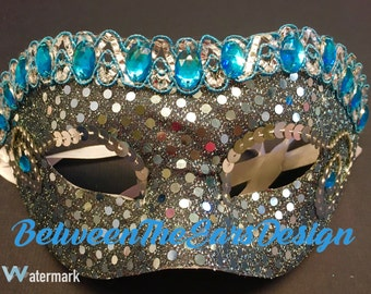 Masquerade Mask: Blue and Grey!