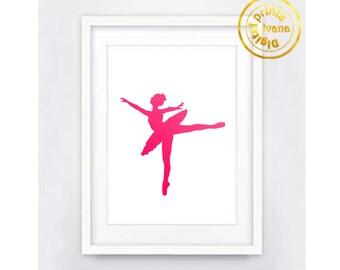 Printable art Digital Prints pink ballerina printable art, printable prints