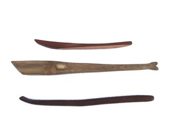 "Kitchen Sticks. Bamboo scraper/stirrer (13""), dark hadwood scraper/stirrer, redwood/maple pretty stick."