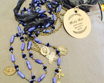 Blue Beaded and Silk Upcycled Vintage Rosary Necklace