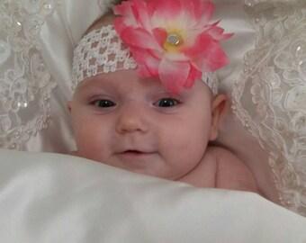 Headband, baby headband, infant headband, photo prop, flower headband, baby girl headband, gem center headband,