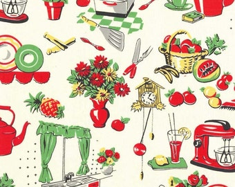 One Yard Fifties Kitchen Fabric by Michael Miller