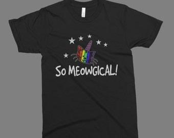 so meowgical cat  t-shirt printed on American Apparel black black t-shirt men women tshirt tank tops S-5XL