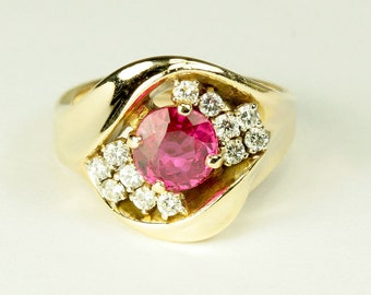 Ruby Diamond  Ring 14K 1.50ct ruby