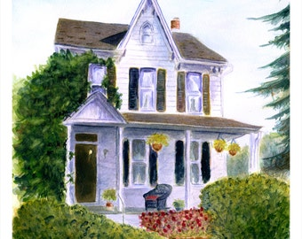 Signed Print of Watercolor - Grandmom's House, Sweet Memories