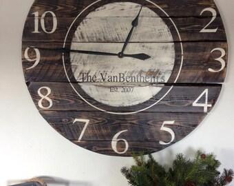 Handmade Reclaimed Wood Clock, handmade clock, rustic clock, wood clock, obersized clock, walnut clock, rustic wall clock, unique clock, clo