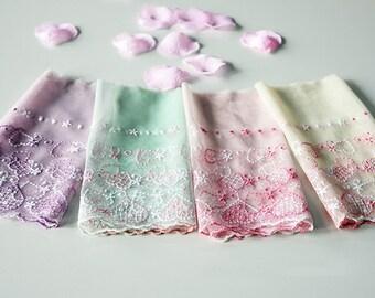 "5 yard 18cm 7.08"" wide pink/purple/green/yellow mesh embroidery lace trim ribbon L22K428 free ship"