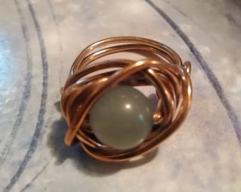 Green Adventurine and copper wire wrapped ring size 5.5.