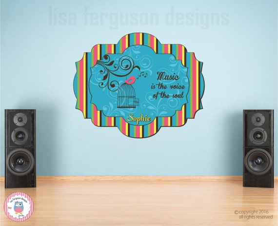 personalized music fabric wall mural for kids