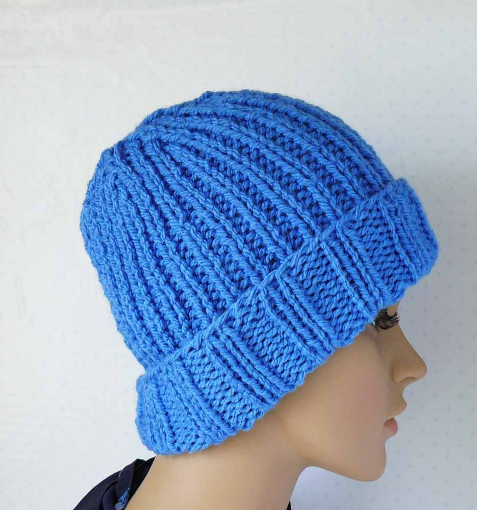Knitted Chunky Beanie Womens Knit Hats with Trim Wool Blend