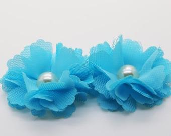 "2"" Blue Chiffon Flower with Pearl, Headband Flower, Fabric Flower 2pcs"