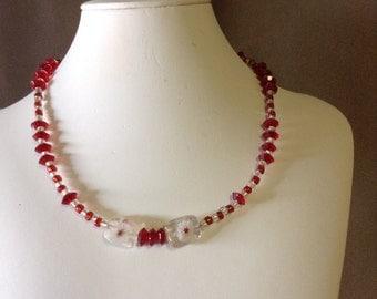 Garnet red necklace