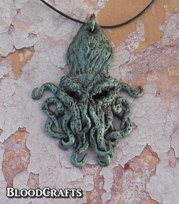 Handmade Great Cthulhu Lovecraft Kraken charm Octopus pendant necklace Necronomicon