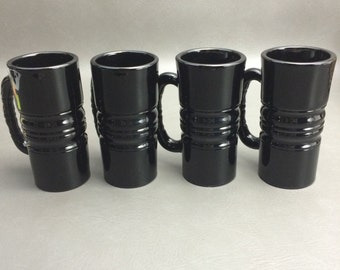 Vintage Tiara Black Amethyst Glass Mugs Set of (4)