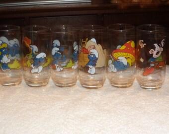 set of 6 smurfs galsses