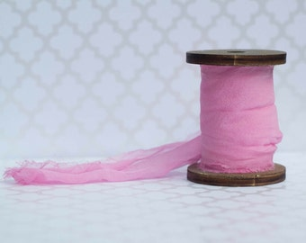 "Cherry Blossom Pink Silk Ribbon - hand dyed 3 "" - 3 yards - wedding bouquet - invitations - gift wrapping"