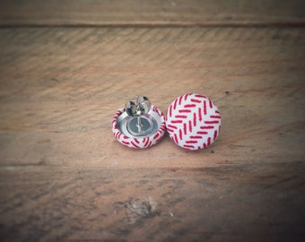 White and Red Herringbone Earrings. Handmade Earrings. Fabric Button Earrings. Gift For Her. Gift Under 20. Stud Earrings. Clip On Earrings.