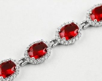 Turkish Handmade Red Zircon Stone 925K Sterling Silver Women Bracelet