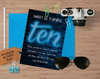 Personalised Invitation, Printable Invite, DIY Printable, Kids Party, Download, Blue Neon, Teen Kids Invite - ANY AGE