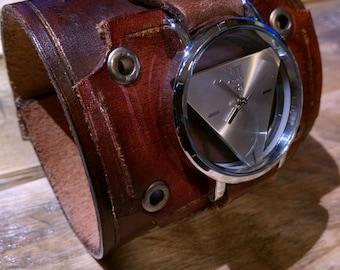 Dieselpunk leather watch