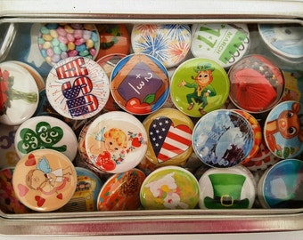 Can of 63 Calendar Magnets, Holiday Magnets, Refrigerator Magnets, Magnet Sets