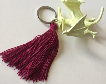 Yellow and Bordeaux Fluo Dino Keyring with Tassel