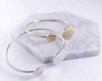 Double Circle Cuff Bangle - Minimalist Design